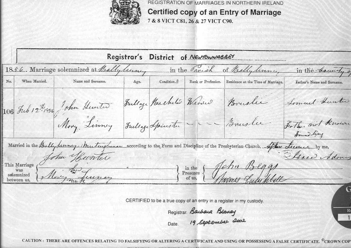 Descendants of samuel hunter index marriage certificate ballylinney 12th february 1856 for john mary aiddatafo Gallery